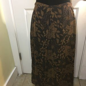 J crew brown floral maxi skirt size 6.